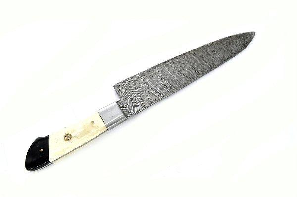 """faca de cozinha em aço damasco importada 9,5"""" cabo de osso"""