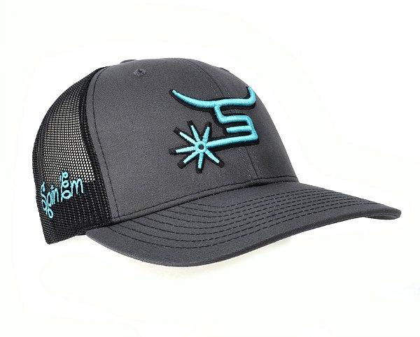 bone spin em chumbo tela preta simbolo azul u.s.a.