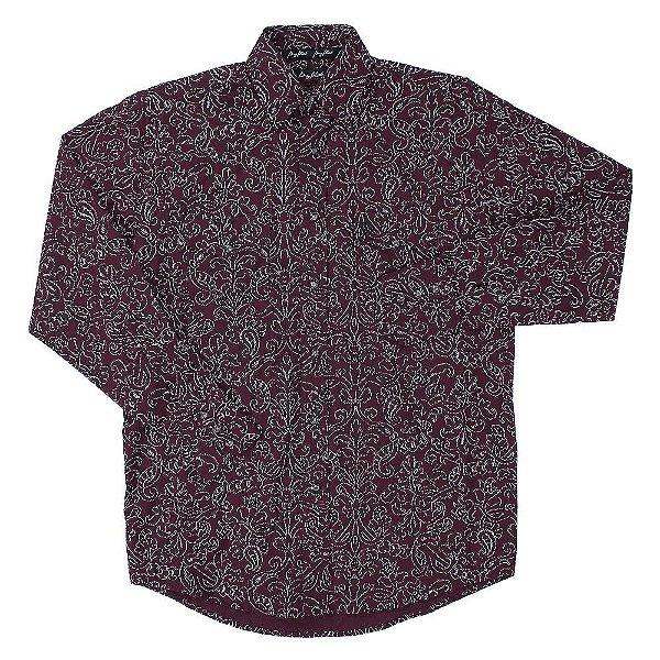 camisa wrangler george strait floral bordô - 41mgs62wn