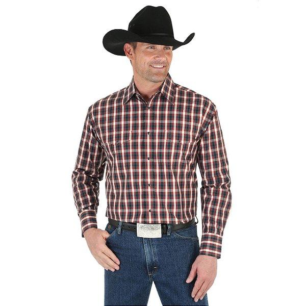 camisa wrangler george strait xadrez marrom - 41mgsx314