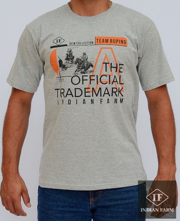 camiseta indian farm cinza new collection team roping