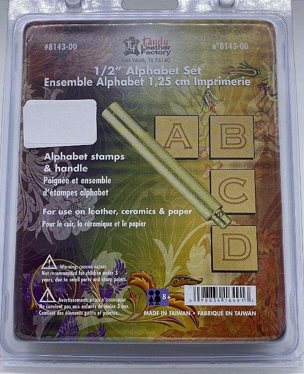 "8143-00 alfabeto de metal para couro 1/2"" 1,25cm"