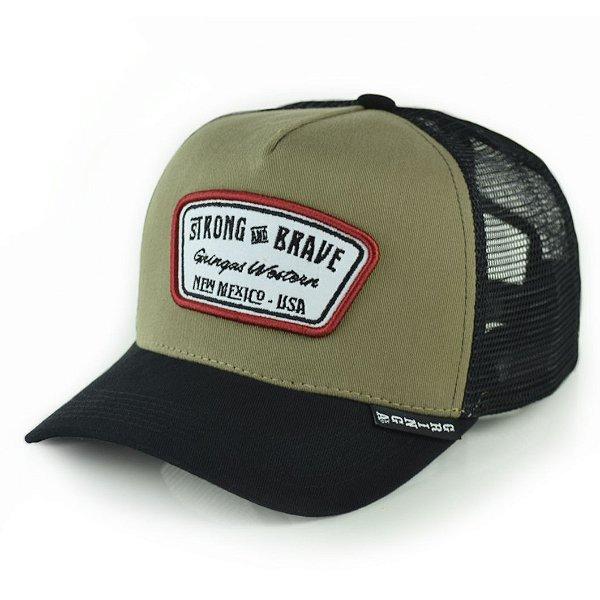 boné gringa´s trucker strong and brave snapback - 24207