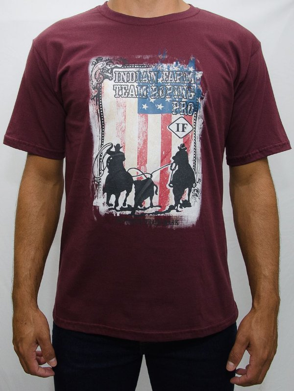 camiseta indian farm roxa team roping pro