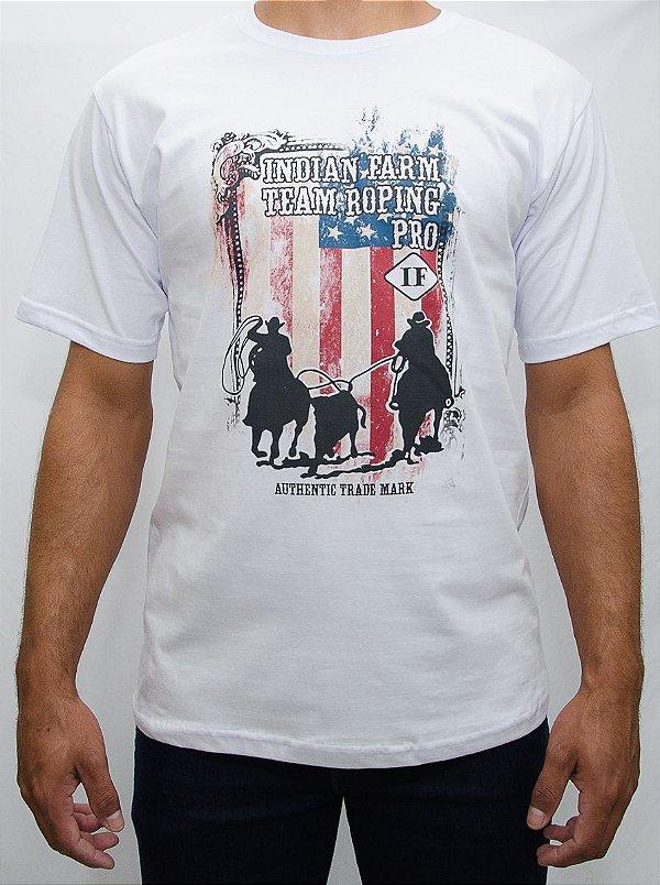 camiseta indian farm branca team roping pro
