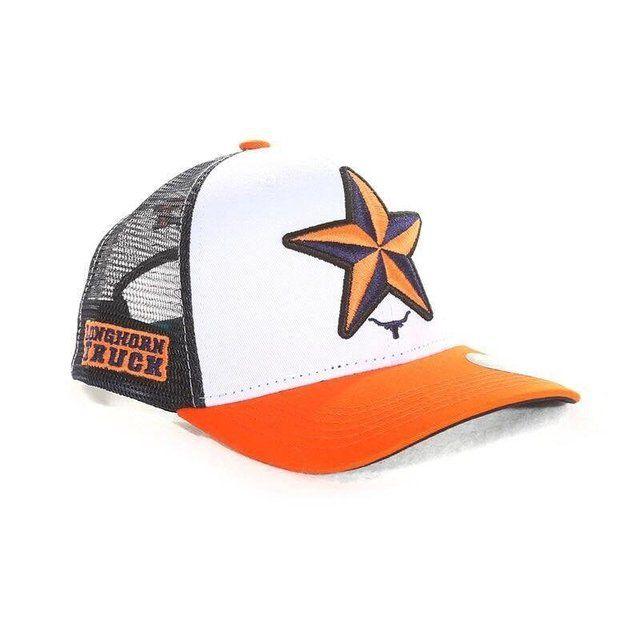 boné longhorn truck branco estrela laranja