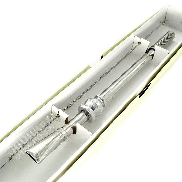 bomba chimate de inox com mola + escovinha de limpeza - 23cm