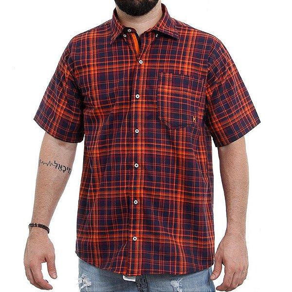 camisa manga curta txc  xadrez laranja marinho - 2112c