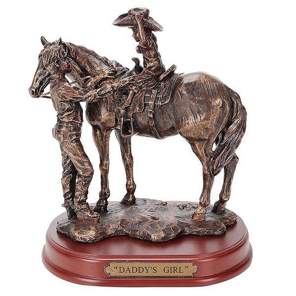 estatua de resina m&f menina pai cavalo