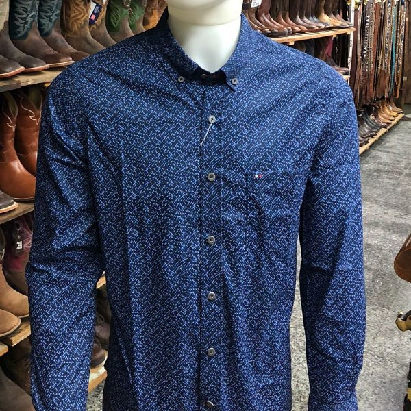 camisa riverton ml estampa azul cod 020 cor173
