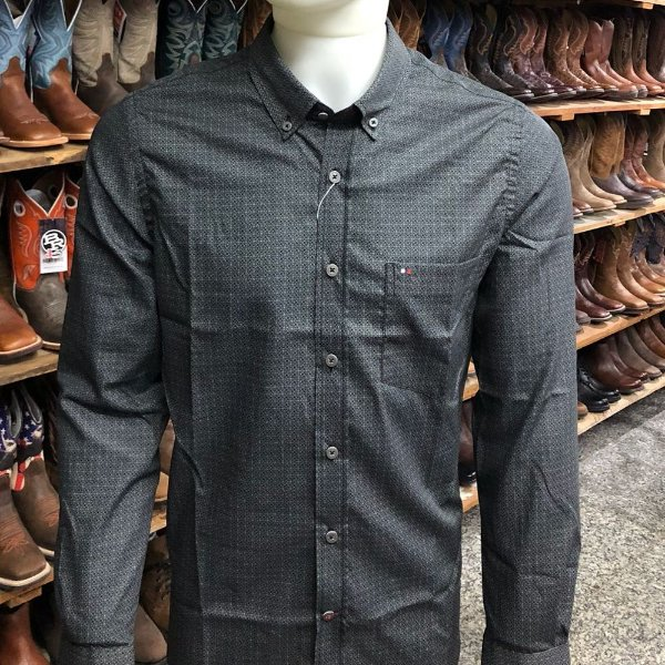 camisa riverton ml estampa cinza escuro cod 020 cor176