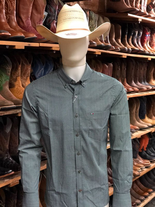 camisa riverton ml estampa verde branca  cod 020 cor171