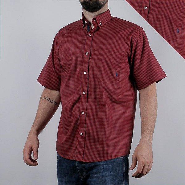 camisa manga curta xadrez bordô 2277c - txc