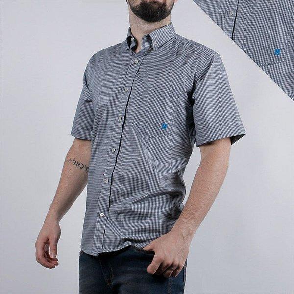 camisa manga curta xadrez cinza 2276c - txc