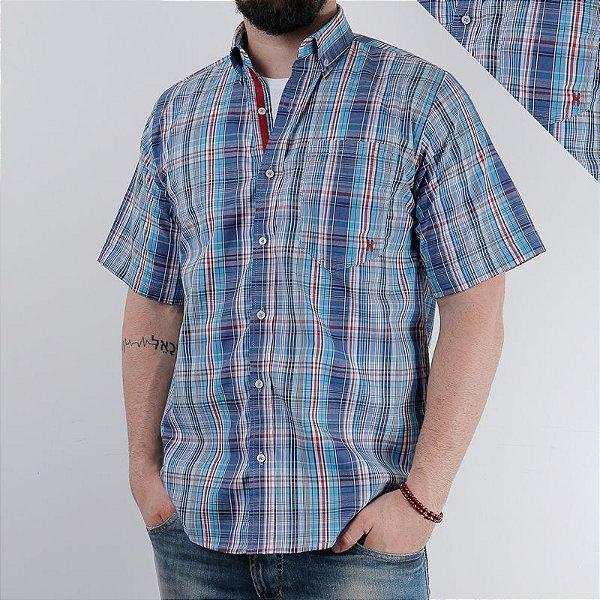 camisa manga curta xadrez azul 2207c - txc