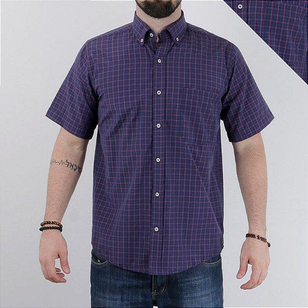 camisa manga curta xadrez roxa 2244c - txc