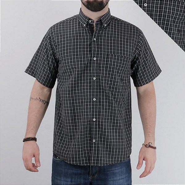 camisa manga curta xadrez preta 2242c - txc