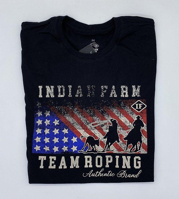 CAMISETA INDIAN FARM PRETA TEAM ROPING