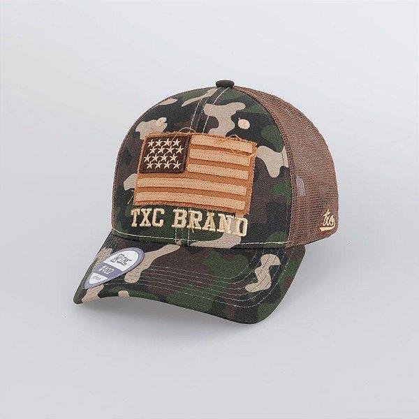 Boné Camuflado Bandeira Tela Marrom 420C - TXC