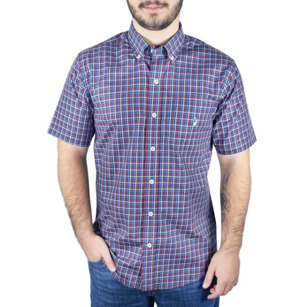 Camisa Masculina Manga Curta Xadrez Azul e Vermelho - Austin