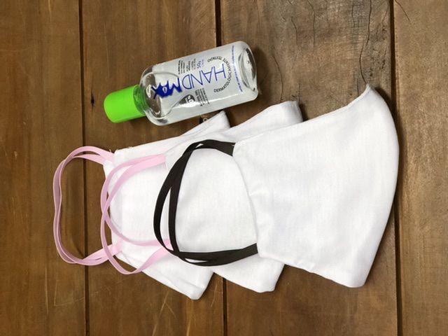 Mascara Dupla 100% Algodão com Elástico kit com 3 e 1 alccol gel 70%, 50g