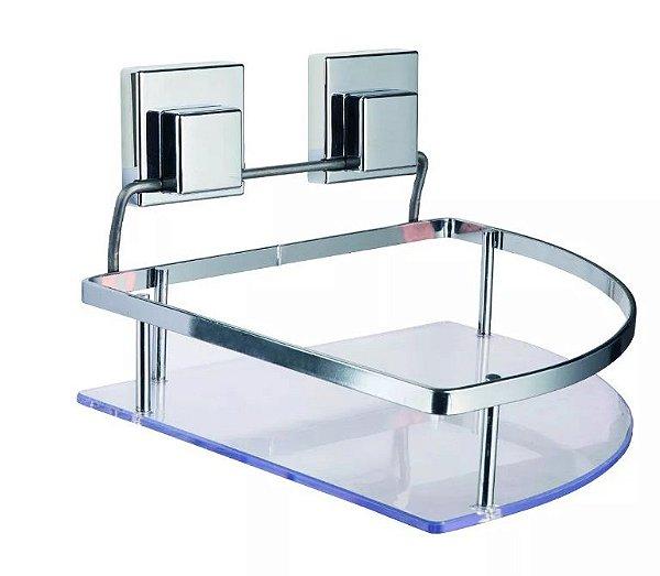 b7ef25cfa Suporte Porta Shampoo de Canto Fixação Por Ventosa Alta Sucção - Linha  Smartloc LOC 702