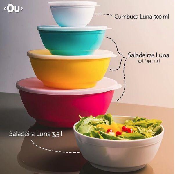 Saladeiras Com Tampa Luna opções de cores e tamanhos 1,8L - 3,5L - 5L - Linha Servir OU