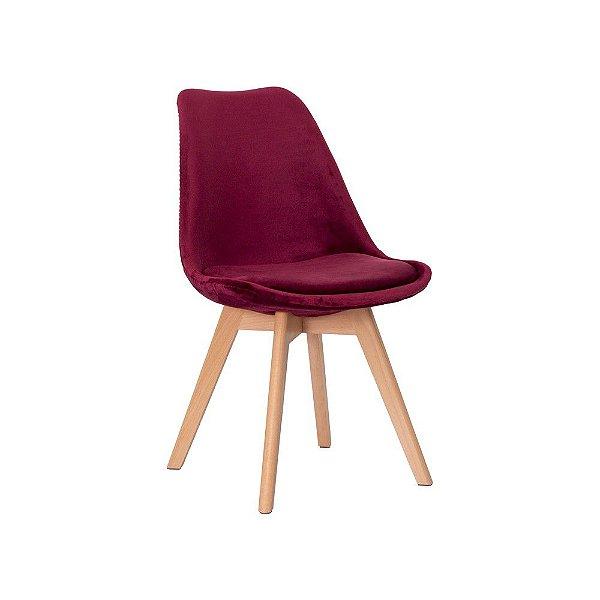 Cadeira Fixa Design Luxe Polipropileno com Veludo Pés Madeira Cadeira Brasil
