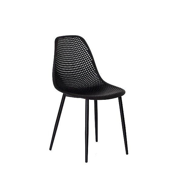 Cadeira Fixa Design Finn Polipropileno Pés Metal Cadeira Brasil