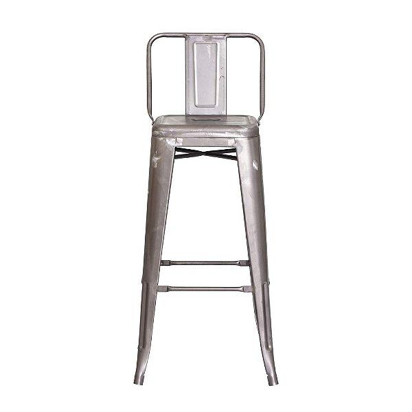 Banqueta Fixa Design Brave com Encosto Sem Pintura Cadeira Brasil