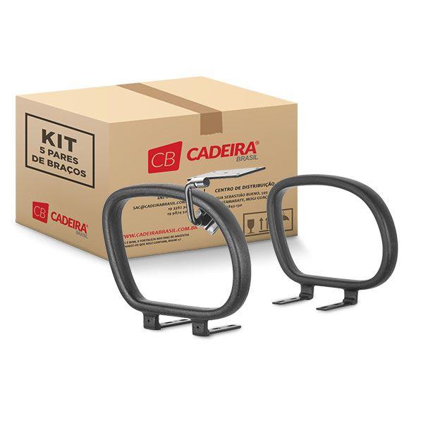 Kit com 5 Pares de Braços Corsa com Mecanismo para Prancheta Escamoteável Direito BR004K Cadeira Brasil