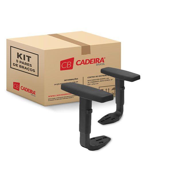 Kit com 5 Pares de Braços Regulável Corporativo BR029K Cadeira Brasil