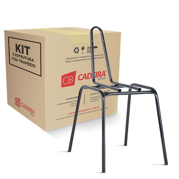 """Kit com 5 Estrutura Fixa 4 Pés Secretária 3/4"""" ES004K Cadeira Brasil"""