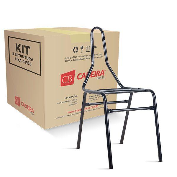 """Kit com 5 Estrutura Fixa 4 Pés Secretária 7/8"""" ES005K Cadeira Brasil"""