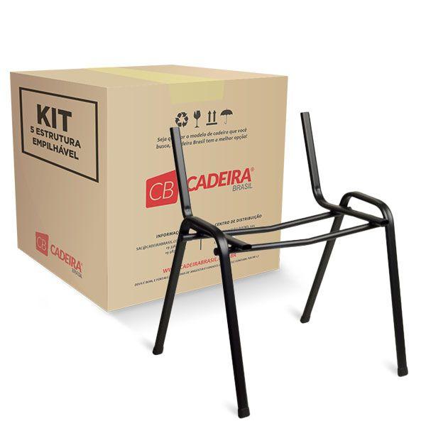 Kit com 5 Estrutura Empilhável para Sigma, Prisma e Pratic ES008K Cadeira Brasil