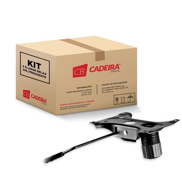 Kit com 5 Mecanismo Flange Relax Diretor / Presidente Preto SF004K Cadeira Brasil