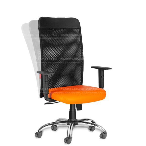 Cadeira Escritório Presidente Giratória Tela MNP51 Mensa Cromada
