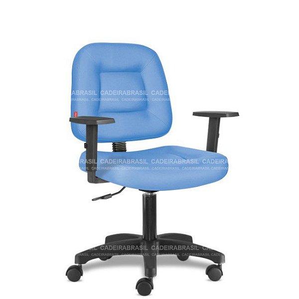 Cadeira de Escritório Giratória Azul Céu com Braços CB 1420 Sintético Saldão