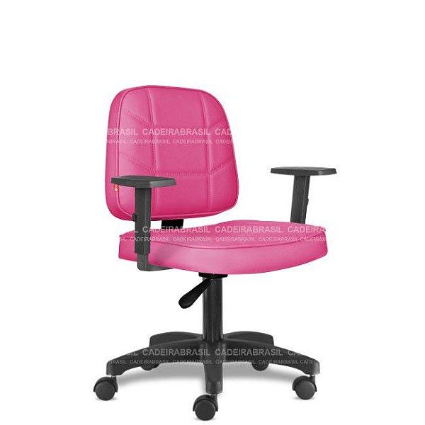 Cadeira de Escritório Giratória Rosa Pink com Braços BLE05 Sintético Saldão