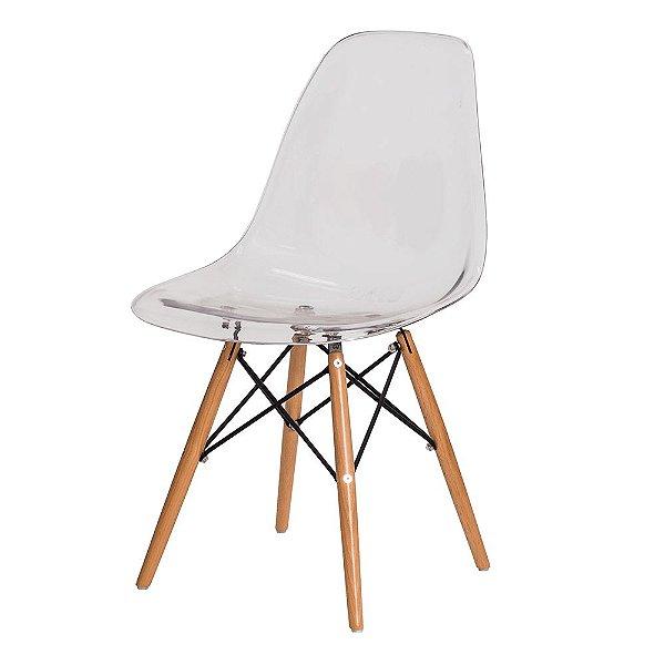 Cadeira Fixa Design Amaze Policarbonato Pés Madeira Cadeira Brasil