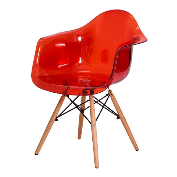 Cadeira Balanço Design Amaze com Braço Policarbonato Pés Madeira Cadeira Brasil