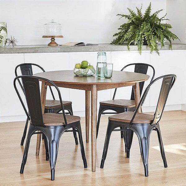 Cadeira Fixa Design Brave Aço Assento Madeira Cadeira Brasil