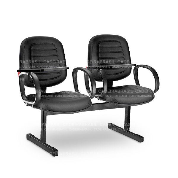 Longarina 2 Lugares Diretor Parma PRD12 Prancheta Escamoteável Cadeira Brasil