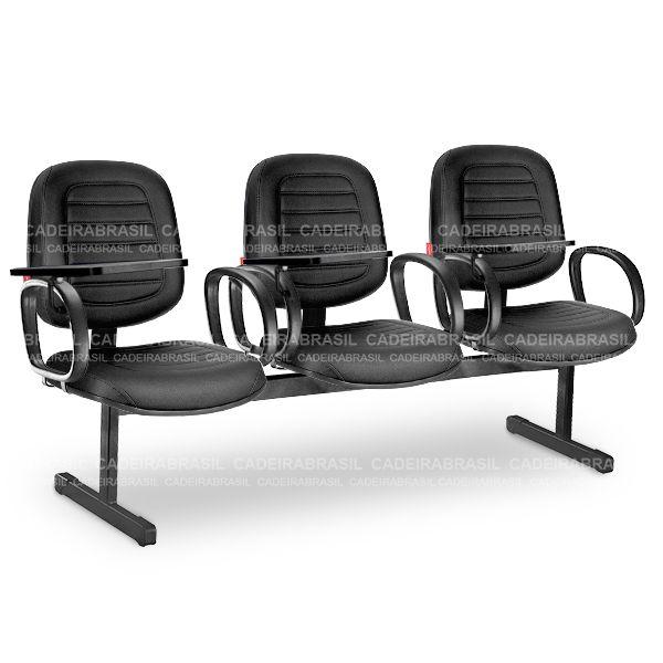 Longarina 3 Lugares Diretor Parma PRD13 Prancheta Escamoteável Cadeira Brasil