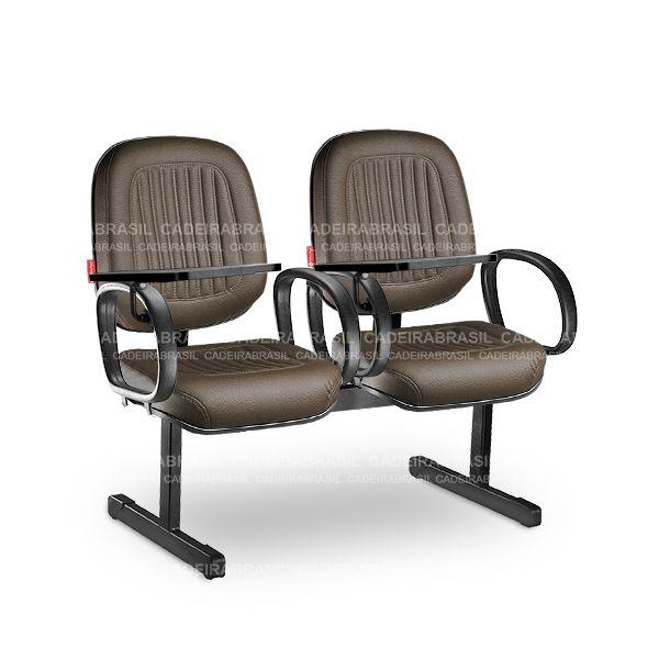Longarina 2 Lugares Diretor Milão MLD12 Prancheta Escamoteável Cadeira Brasil