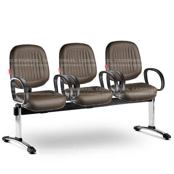 Longarina 3 Lugares Diretor Milão MLD61 Cadeira Brasil