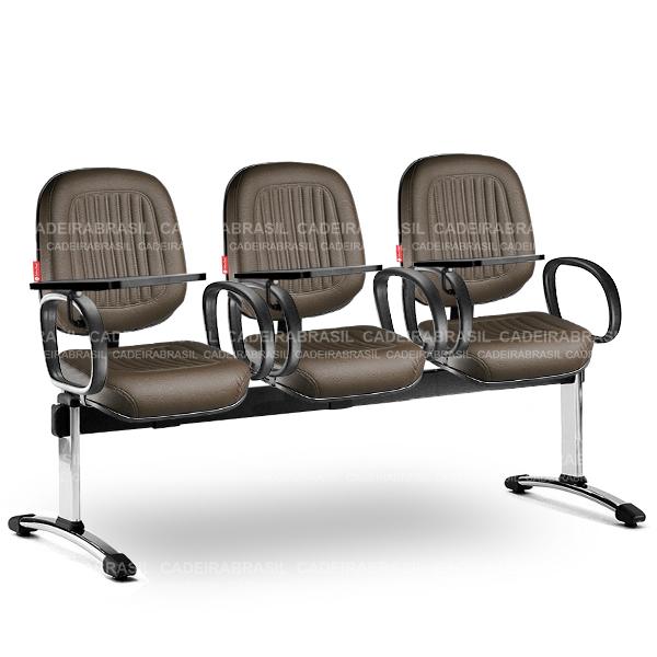 Longarina 3 Lugares Diretor Milão MLD63 Prancheta Escamoteável Cadeira Brasil