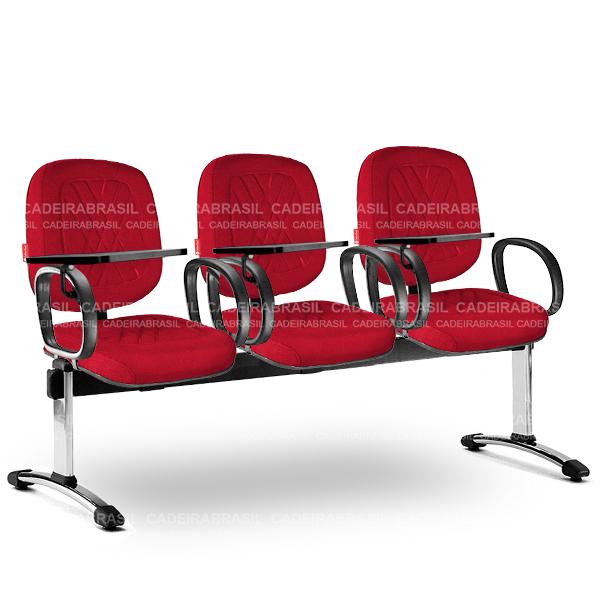 Longarina 3 Lugares Diretor Senna SND63 Prancheta Escamoteável Cadeira Brasil