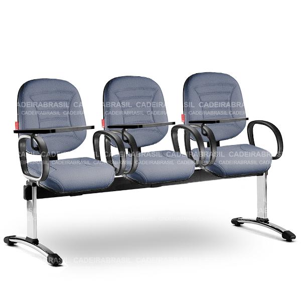 Longarina 3 Lugares Diretor Firenze FRD63 Prancheta Escamoteável Cadeira Brasil