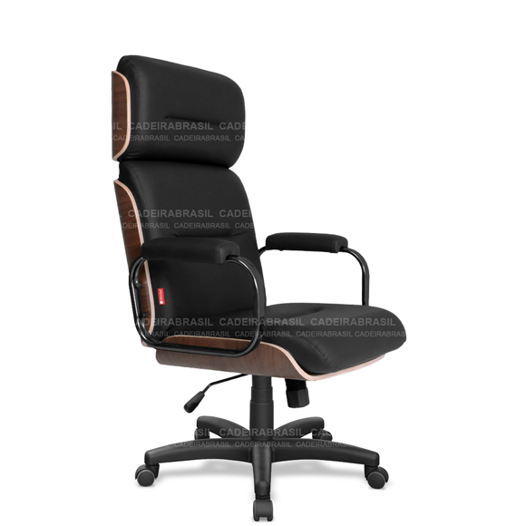 Cadeira Presidente Giratória com Apoio de Cabeça Wooden WDP02 Cadeira Brasil